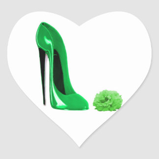 Emerald green stiletto shoe and rose heart sticker