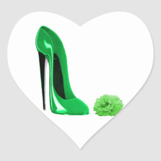 Emerald Green Stiletto Shoe and Rose Heart Sticker