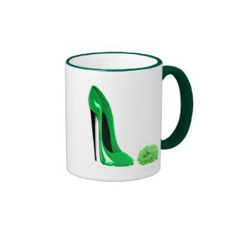 Emerald Green Stiletto Shoe and Rose Mug