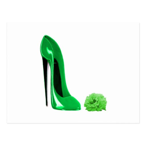 Emerald green stiletto shoe and rose post cards