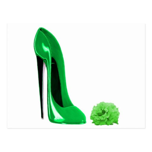 Emerald Green Stiletto Shoe and Rose Postcards