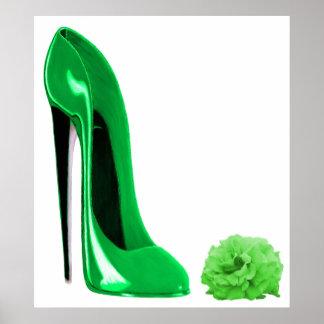 Emerald Green Stiletto Shoe and Rose Print