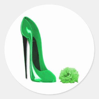 Emerald Green Stiletto Shoe and Rose Round Sticker