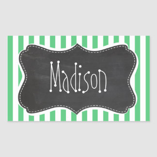 Emerald Green Vertical Stripes; Vintage Chalkboard Rectangular Sticker