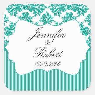 Emerald Green White Damask Wedding Envelope Seal Square Sticker