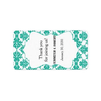 Emerald Green White Damask Wedding Lip Balm Label