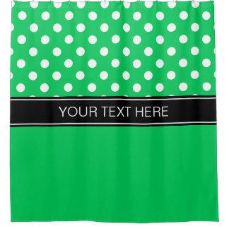 Emerald Green White LG Dot Black CB Name Monogram Shower Curtain