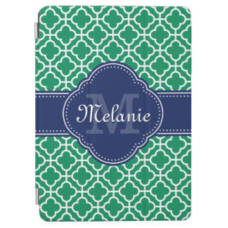 Emerald Green Wht Moroccan Pattern Navy Monogram