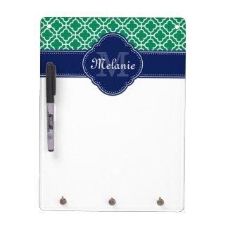 Emerald Green Wht Moroccan Pattern Navy Monogram Dry Erase Board