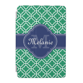 Emerald Green Wht Moroccan Pattern Navy Monogram iPad Mini Cover