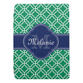 Emerald Green Wht Moroccan Pattern Navy Monogram iPad Pro Cover