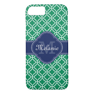 Emerald Green Wht Moroccan Pattern Navy Monogram iPhone 8/7 Case