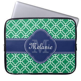 Emerald Green Wht Moroccan Pattern Navy Monogram Laptop Sleeve