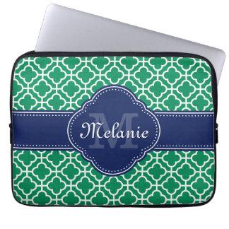 Emerald Green Wht Moroccan Pattern Navy Monogram Laptop Sleeve