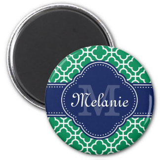 Emerald Green Wht Moroccan Pattern Navy Monogram Magnet