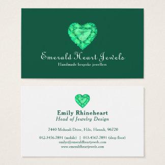 Emerald heart jewel jewellery green business card