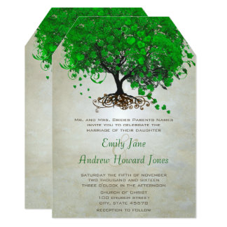 Emerald Heart Leaf Tree Wedding Invites
