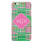 Emerald Hot Pink Preppy Patchwork Madras Monogram