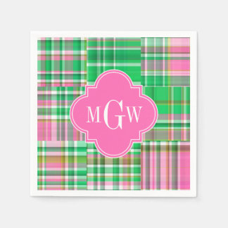 Emerald Hot Pink Preppy Patchwork Madras Monogram Disposable Serviette