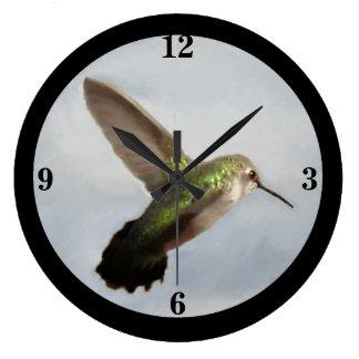 Emerald Hummingbird Wall Clock-Blue/Black/Green Large Clock