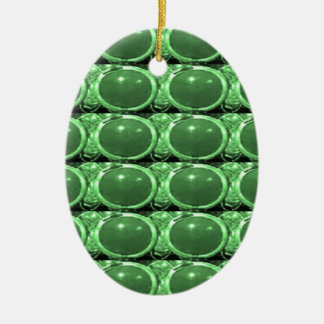 Emerald Jewel Gifts émeraude vert bijou terre fun Double-Sided Oval Ceramic Christmas Ornament