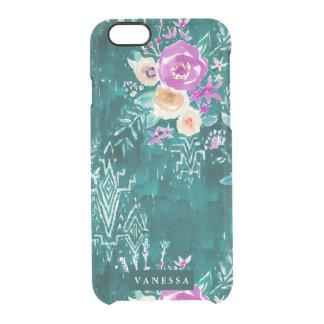 Emerald Lavish Watercolor Floral CUSTOMIZABLE Clear iPhone 6/6S Case