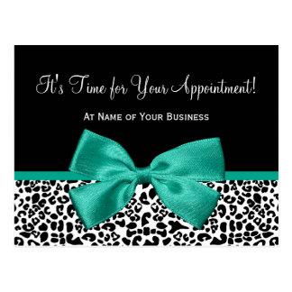 Emerald Leopard Print Salon Appointment Reminder Post Card