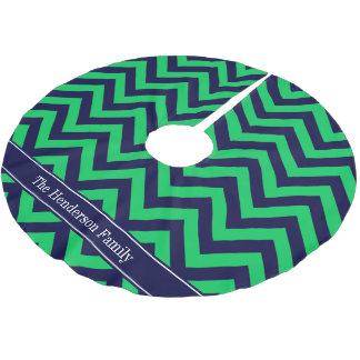 Emerald Navy LG Chevron Navy Blue Name Monogram Brushed Polyester Tree Skirt