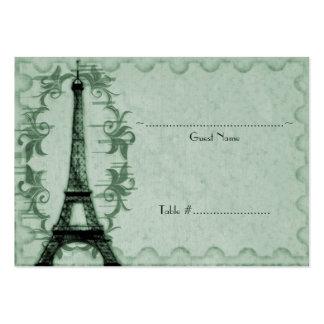 Emerald Paris Grunge Reception Seating Card Business Card Templates