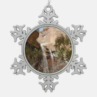 Emerald Pool Falls I from Zion National Park Snowflake Pewter Christmas Ornament