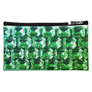 Emerald Rhinestones Makeup Bag
