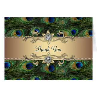 Emerald Royal Blue Gold Peacock Thank You Cards