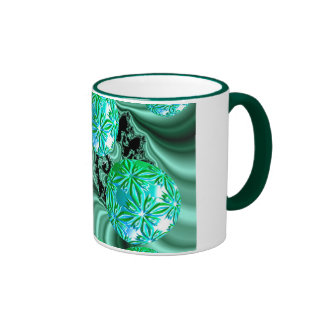 Emerald Satin Dreams - Abstract Irish Fairy Button Coffee Mugs