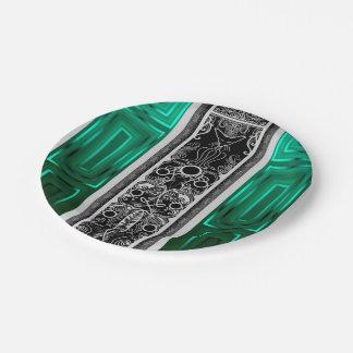 Emerald Scroll Cat Paper Plate