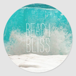 Emerald Sea Crashing Waves - Beach Bliss Classic Round Sticker