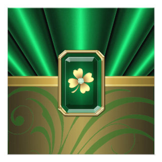 Emerald Silk Pleats Jewel St Patrick s Day Invite