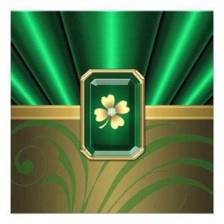 Emerald Silk Pleats Jewel St Patrick's Day Invite