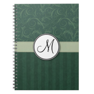 Emerald Teal Floral Wisps & Stripes with Monogram Notebook