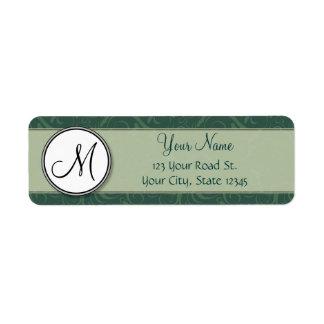 Emerald Teal Floral Wisps & Stripes with Monogram Return Address Label