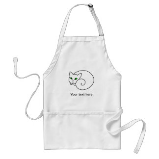 Emerald The Cute White Cat With Green Eyes Adult Apron