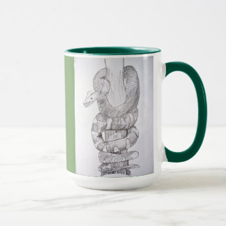Emerald Tree Boa Snake Sketch on Green Coffee Mug