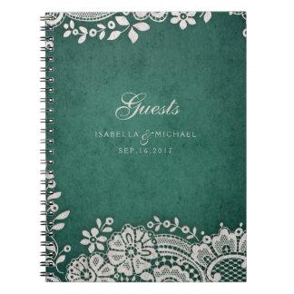 Emerald vintage lace rustic wedding guest book