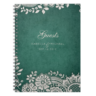 Emerald vintage lace rustic wedding guest book spiral note books
