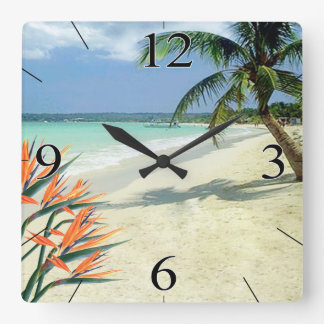 Emerald Waters Bird of Paradise Beach Square Wall Clock