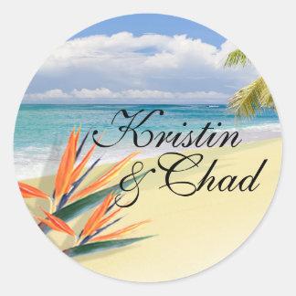 EMERALD WATERS Tropical Beach Wedding Round Stickers