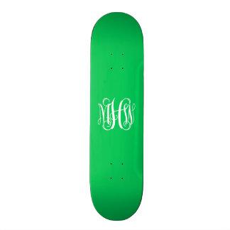 Emerald White 3 Initials Vine Script Monogram 21.6 Cm Skateboard Deck