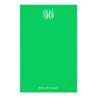 Emerald White 3 Initials Vine Script Monogram Stationery