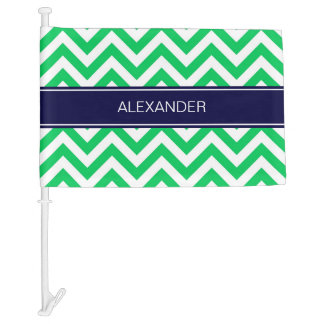 Emerald White LG Chevron Navy Blue Name Monogram Car Flag