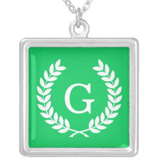 Emerald White Wheat Laurel Wreath Initial Monogram Jewelry