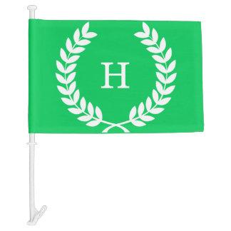 Emerald White Wheat Laurel Wreath Initial Monogram Car Flag